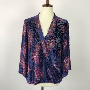 Anthropologie Floreat Japonica Velvet Top T405